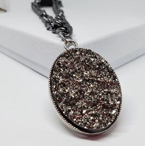 Oval Druzy Pendant on a Chunky Chain Choker